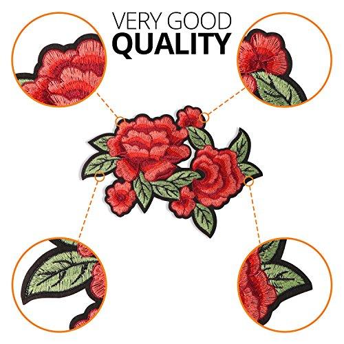 BT Patch rot Rose Eisernen, auf 20,8cm 14cm bestickt Rose Patches für Jacken und Jeans, Patches für Clothers: Kleid, T-Shirt, Rock, Weste, Schal, Tasche -