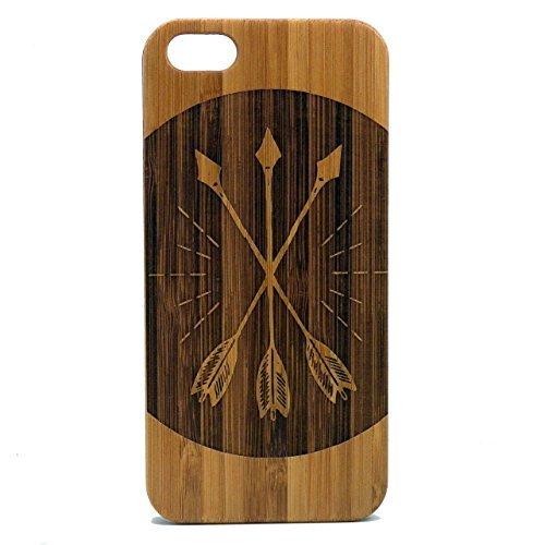 , iPhone 5S Oder iPhone SE Case/Cover von imakethecase   Pfeil & Bogen umweltfreundlichem Bambus Holz   Amor Rustikal holzartiger Woodland Vintage Retro Tattoo ()