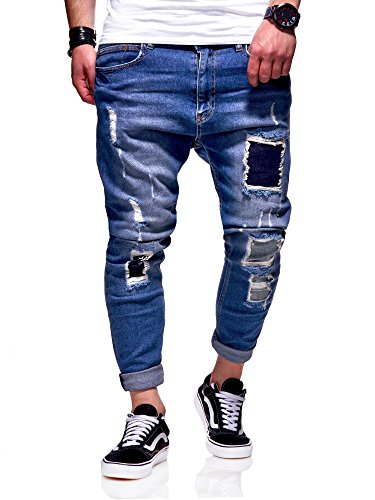 MT Styles Herren Jeans Anti-Fit Jeanshose Destroyed Blau JN-3727 [Blau, W34/L32]