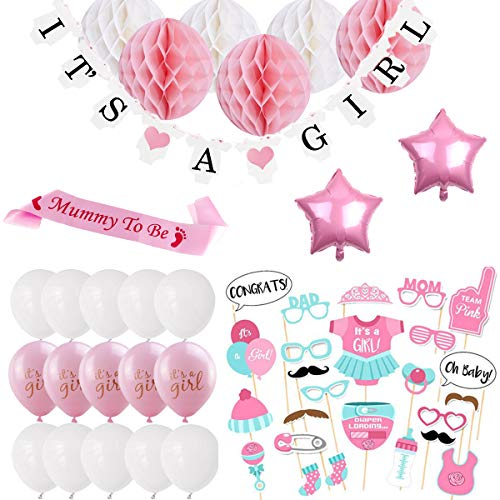 BEMEI Babyparty Deko Mädchen, Baby Shower Party Deko It's A Girl Girlande, 6pcs Wabenbälle, Mummy to Be Schärpe, Fotorequisiten Masken, Konfetti Babyparty, 10pcs Luftballons