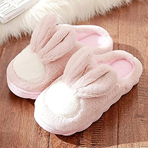 G&Z Damen Mädchen niedlich Cartoon Winter weiche gemütliche rutschfeste Hausschuhe halten warm Indoor Plüsch Spa , Pink , 40