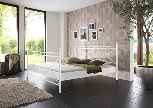 SAM® Metallbett 200x200 cm Ivrea, Bettgestell weiß, filigrane Verzierungen, Blickfang für Gästezimmer Schlafzimmer (Himmelbetten Eisenbetten)