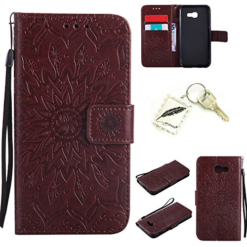 Preisvergleich Produktbild Silikonsoftshell PU Hülle für Samsung Galaxy A5 (2017) (5,2 Zoll) Tasche Schutz Hülle Case Cover Etui Strass Schutz schutzhülle Bumper Schale Silicone case+Exquisite key chain X1) #KC (1)