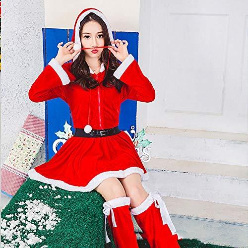 Santa Weibliche Kostüm Claus - Shisky Weihnachtskostüme,Weihnachten Kleidung Santa Claus Kostüm männliche und weibliche Erwachsene Weihnachten Leistung Kostüm-Weihnachten Kleid