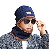 2-pieces winter beanie hat scarf set warm knit thick skull cap unisex outdoor sport wintermütze strickmütze kuschelig schal mit loop