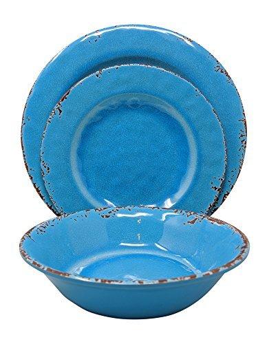 Gianna 's Home 12-teiliges Rustikal Farmhouse Melamin Geschirr Set, Service für 4 Easter Egg Blue Fiesta Blue Plate