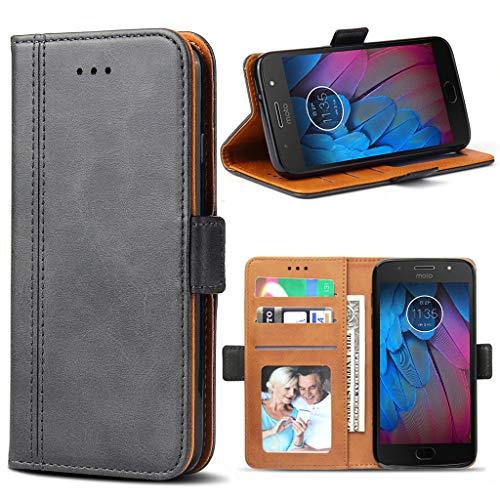 Bozon Motorola Moto G5S Hülle, Leder Tasche Handyhülle für Motorola Moto G5S Flip Wallet Schutzhülle mit Ständer und Kartenfächer/Magnetverschluss (Dunkel-Grau)