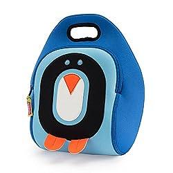 Dabbawalla Bags (Kitchen) Cold Feet Penguin Kids Washable Lunch Tote Bag, Blue/Black/Orange/White