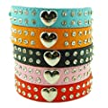 Namsan Puppy Dog Pet Doggie Cats Leather Collars Necklaces With Lovely Heart Charm Bling Crystal (black,blue,pink,red,rose) &(XS ,Small, Medium, Large)