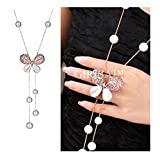 GIRISA Fashion Jewelry Stylish Pendants for Girls with Long Chain Butterfly Pendent Party Western Wear Necklace For Women & Girls (Rosegold)