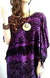 Coole Kaftane NEW CELTIC Kaftan Kaftan-Kleid plus One Size Coole weiche, kühle Lila Kaftane Purple Black
