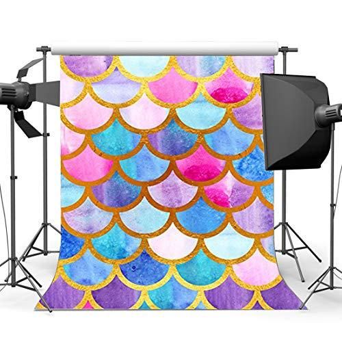 BuEnn Meerjungfrau Skalen Hintergrund 3X5FT Aquarell Fischschuppen Vinyl Kulissen Mädchen Geburtstag Dessert Tisch Tapete Fotografie Hintergrund Sommer Mädchen Kuchen Smash Foto Studio YX908