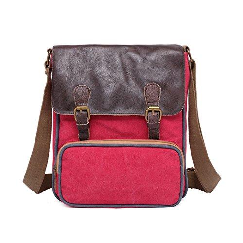 Wewod Bolsos Hombre Bandolera de Lona Marca Casual Viaje Pequeñas Outdoor Sport Montaña Trekking Colegio universidad Messenger Bag Bolsas de Viaje Shoulder Bag (Rojo)
