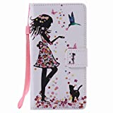 Coque pour Huawei P9 Lite Etui, Ougger Girl Style Portefeuille Housse PU Cuir...
