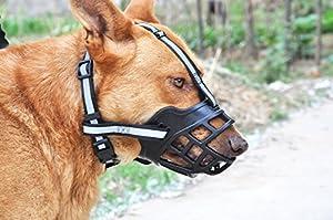 Slzz souple réglable en gel de silice Muselière pour chien–Anti Aboiement Mâcher mordre respirant Chien Panier Muselière–Noir