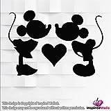 Minnie & Micky Maus Vinyl-Sticker, Dekoration, glitzernd, für Weingläser, Wände, Becher, Laptops, Tassen, von Inspired Walls®, schwarz