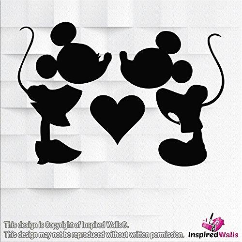 Minnie & Micky Maus Vinyl-Sticker, Dekoration, glitzernd, für Weingläser, Wände, Becher, Laptops, Tassen, von Inspired Walls®, schwarz (Maus Dekoration Micky)