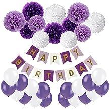 Recosis Pancartas de Banderines de Happy Birthday con 12 Piezas Pom Poms Bola de la Flor y 20 Piezas Globos de Fiesta para Decoración de Fiesta, Púrpura