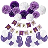 Geburtstag Party Dekoration, Recosis Happy Birthday Wimpelkette Banner Girlande mit Seidenpapier Pompoms und Luftballons für Mädchen und Jungen Jeden Alters - Violett, Lavendel und Weiß