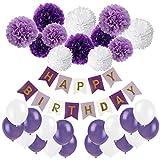 Geburtstag Party Dekoration, Recosis Happy Birthday Wimpelkette Banner Girlande mit Seidenpapier Pompoms und Luftballons für Mädchen und Jungen Jeden Alters - Violett, Lavendel und Weiß
