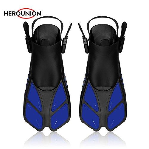 HEROUNION® Erwachsene Tauchen Ausrüstung Flipper TPR Soft Rubber Longblade Leistungsstarke Flossen für Schnorcheln Schwimmen (Blau L)