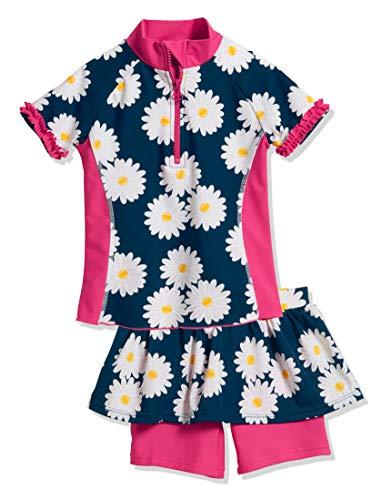 Playshoes Mädchen Badebekleidungsset UV-Schutz Bade-Set Margerite, Blau (Marine 11), 110 (Herstellergröße: 110/116)
