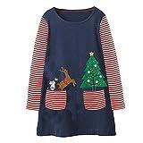 Riou Weihnachten Baby Kleidung Set Pullover Outfits Winteranzug Kinder Baby Mädchen Deer Gestreifte Prinzessin Kleid Weihnachten Outfits Kleidung (95-100CM, Marine)