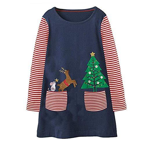 Riou Weihnachten Baby Kleidung Set Pullover Outfits Winteranzug Kinder Baby Mädchen Deer Gestreifte Prinzessin Kleid Weihnachten Outfits Kleidung (100-110CM, Marine)
