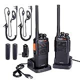Walkie Talkie Professionali, Tacklife-MTR01 Ricetrasmettitori Ricaricabile 3-4 km con 16 canali, PMR 446 MHz, 2 Cuffie e Caricatore USB