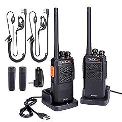 Idea Regalo - Walkie Talkie Professionali, TACKLIFE-MTR01 Ricetrasmettitori Ricaricabile 3-4 km con 16 Canali, PMR 400-470 MHz, 2 Cuffie, 2 Caricatore USB, Batteria al Litio da 1300 mAh