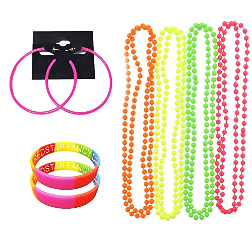 NEON PARTY 80S EARRINGS 4 PACK NEON NECKLACE