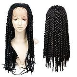 Perruques de tresse de dentelle tressée synthétique Wigs de tresses de tresse africaine noires pour les femmes noires Couleur noire naturelle ( 24 pouces)