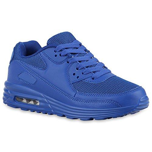 Damen Sportschuhe Laufschuhe Profilsohle Neon Schnürer Runners Blau Blau