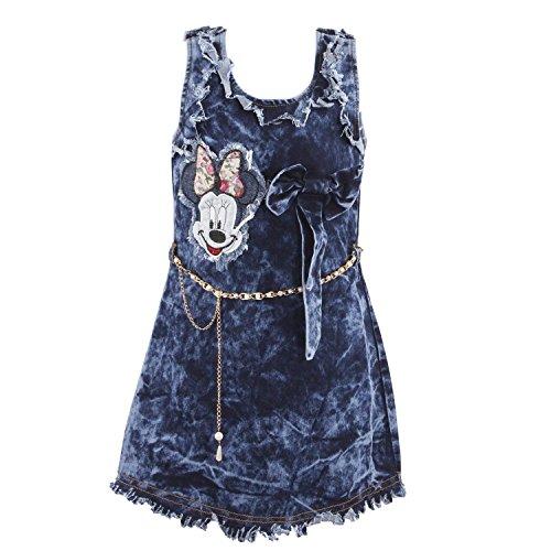 Fasherati Denim One Piece Western Wear Dress for Girls (Blue)