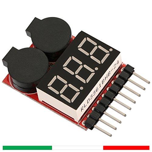 Tester per batterie con allarme acustico a basso voltaggio -