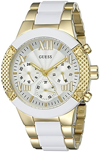 GUESS Women's U0770L1 Sporty Gold-Tone Stainless Steel Watch with Multi-Function Dial and Pilot Buckle