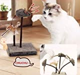 KOOBA Mouse Feather Interactive Motion Cat Toy, Dual Fun  Swing Spring Teaser with Squeak Sound  Light Up Eyes Soft Natural Feather for Exercise, Fur Mice Fun Pet Game for Cats and Kitten