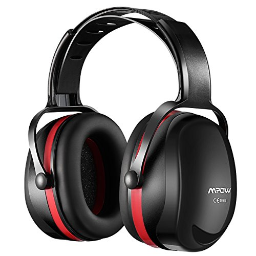 Mpow 044 Ear Defenders Adult with Carrying Bag, SNR 36dB Noise Reduction Ear Protectors with Adjustable Headband, Double Layers Hearing Protection for Shooting, Gardening, Hunting, Construction-Red