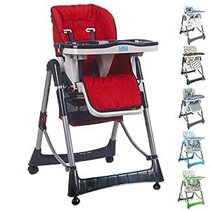 Monsieur Bébé ® Chaise haute enfant pliable, réglable hauteur, dossier et tablette - 6 coloris - Norme NF EN14988