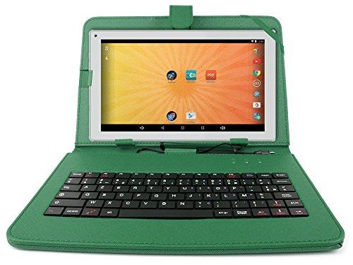 """Etui aspect cuir vert + clavier intégré AZERTY pour Artizlee Tablette Tactile 3G ATL-21 10,1"""" 16Go et ATL-26 9,6"""" 16Go avec stylet tactile BONUS - Garantie 2 ans"""