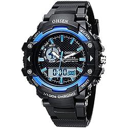 OHSEN Men Women Sport Watch Waterproof LED Digital Analog Display with Stopwatch Chronograph Alarm - Blue
