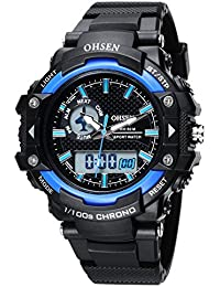 OHSEN Montre Sports étanche EL Rétroéclairage Homme Femme Multi-fonction Digitale Analogique Montre Bracelet avec Chronomètre Alarme - Noir/Bleu
