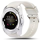 Montre Smart Watch Phone,Montre intelligente Bluetooth, écran tactile Poignet Bluetooth, moniteur de sommeil, caméra, emplacement pour carte SIM, podomètre, tracker sport sportif pour Android et IOS (blanc)...