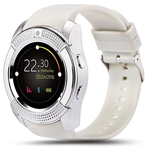 Montre Smart Watch Phone,Montre intelligente Bluetooth, écran tactile Poignet Bluetooth, moniteur de sommeil, caméra, emplacement pour carte SIM, podomètre, tracker sport sportif pour Android et IOS (blanc)