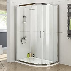 iBathUK 1200 x 800 Right Quadrant 6mm Sliding Glass Shower Enclosure with Tray + Free Waste