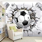 Carta da parati stereoscopica della foto di dimensione su ordinazione 3D per la stanza dei bambini Contesto murale della stanza della lettiera murale di calcio creativo moderno rotto-300 * 250cm