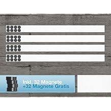 Master of Boards® Edelstahl Magnetleisten Set - 4 Stück à 100cm - inkl. 64 Magnete
