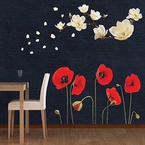Walplus Entfernbarer selbstklebend Wand Sticker klein weiß Magnolie mit Rote Mohnblume Blumen Wandbild Kunst Zuhause Wohnzimmer Dekoration Dekor Restaurant Cafe Hotel Kinderzimmer Dekoration (Mohnblumen Wandtattoo)