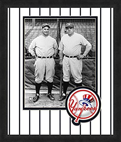 MLB New York Yankees Lou Gehrig & Mickey Mantle 8x10-Inch Full Color Logo Mat Photograph, White