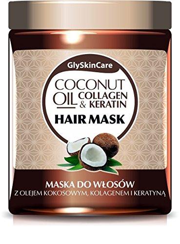 glyskincare aceite de coco, Colágeno y Queratina–Mascarilla para el pelo con con ingredientes naturales–Aceite de Coco, Queratina, Colágeno, Proteína de trigo, Vitamina E, Aloe y pantenol–300ml